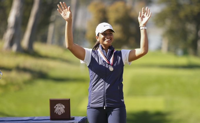 Megha Ganne with the Low Amateur medal at the U.S. Women's Open