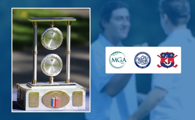 French-American Challenge trophy and MGA, WMGA & Ligue de Golf de Paris logos