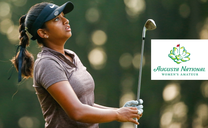 Megha Ganne and Augusta National Women's Amateur logo