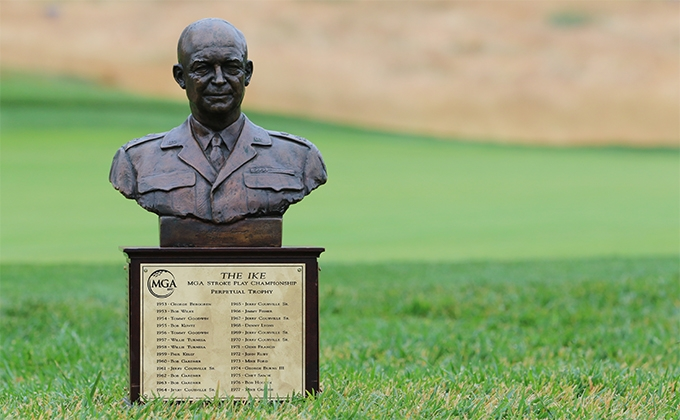 Ike trophy sitting on grass
