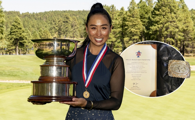 Ina Kim-Schaad with the U.S. Women's Mid-Amateur Trophy and her U.S. Women's Open invitation