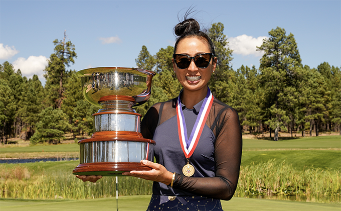 Ina Kim-Schaad with the U.S. Women's Mid-Amateur Trophy