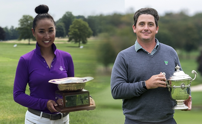 Ina Kim-Schaad with the Women's Met Amateur Trophy; Brad Tilley with the MGA Mid-Am Trophy