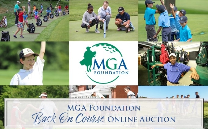 MGA Back on Course Auction graphic with GOLFWORKS student interns