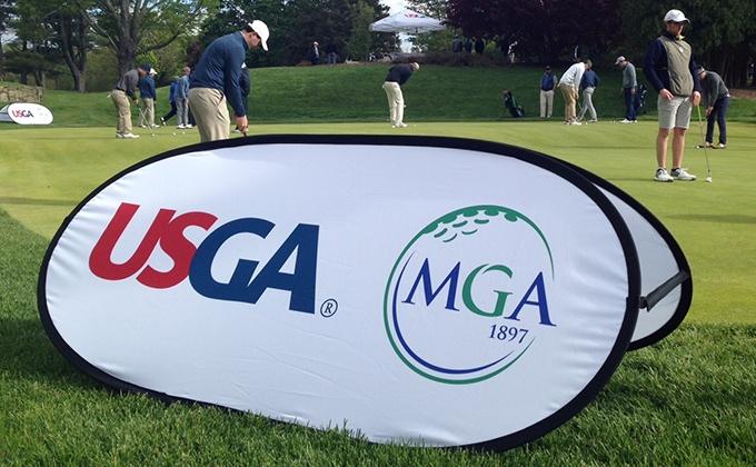 MGA USGA Logo banner on putting green