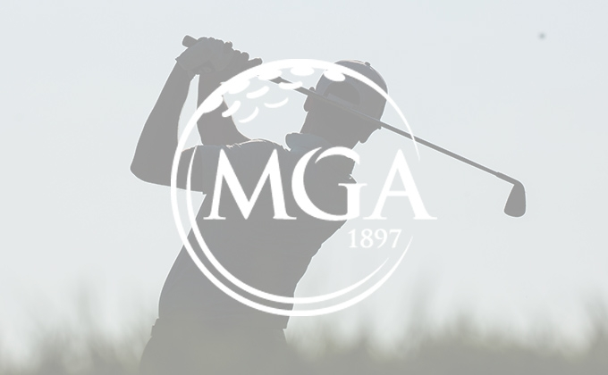 Silhouette of golfer swinging with MGA logo