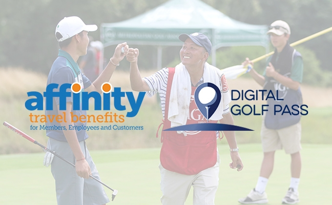 Affinity Travel logo and Digital Golf Pass logo over a photo of golfer and caddy