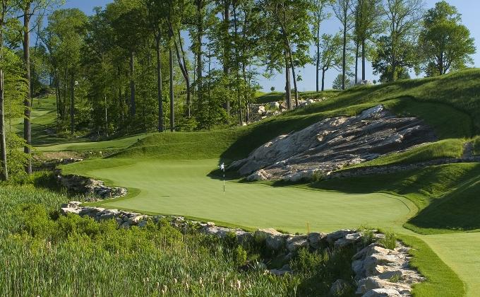 The par-3 15th at Pound Ridge Golf Club