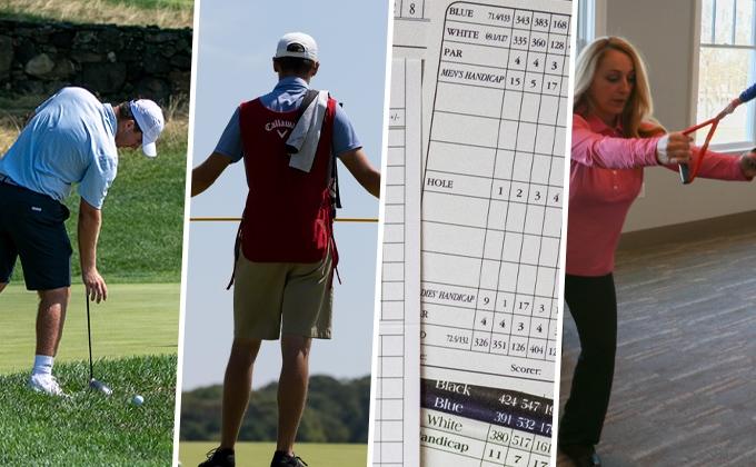 Golfer taking a drop, caddie holding a flagstick, scorecards, woman exercising