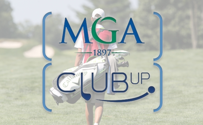 MGA Logo and Club Up Logo over background image of golfer walking