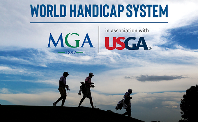 Silhouettes of golfers with World Handicap System, MGA and USGA logos