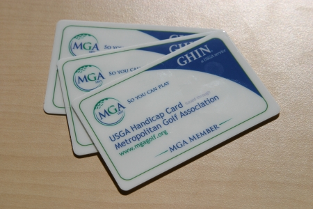 MGA Handicap cards on a table