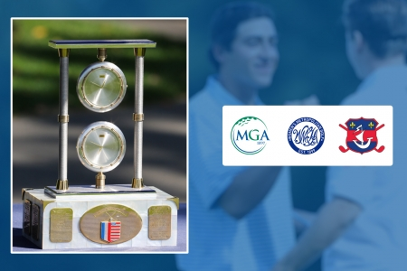 French-American Challenge trophy and MGA, WMGA & Ligue de Golf de Paris logos