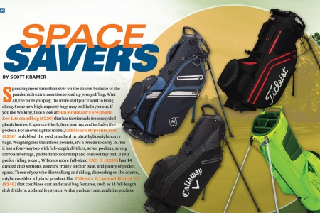 Met Golfer EXTRA layout featuring four different golf bags.