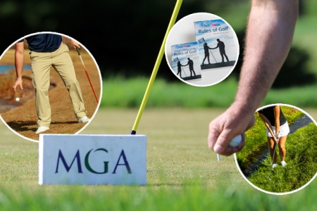 2019 Rules of Golf Images, knee-height drop, rules books, playing from hazard