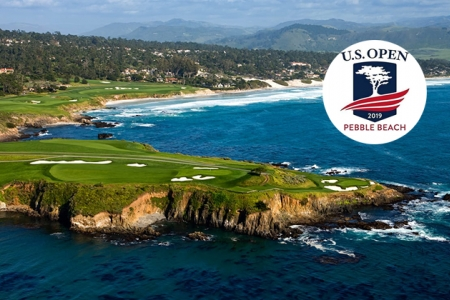 Aerial view of Pebble Beach Golf Links' 7th hole.
