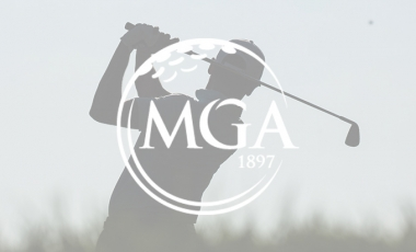 MGA Logo with golfer silhouette background