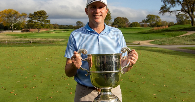 Jason Caron and the Long Island Open Championship Trophy