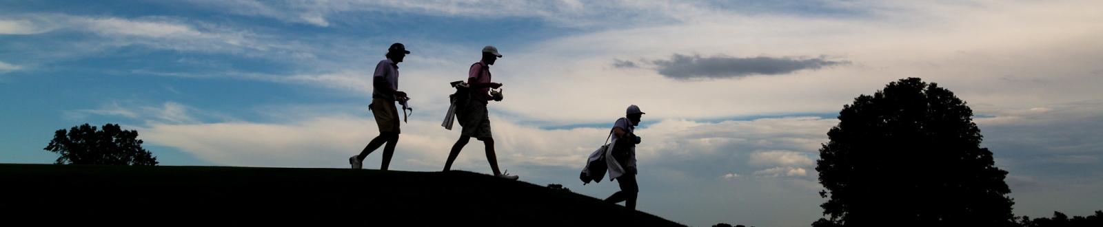 Golfers Walking down a tee box